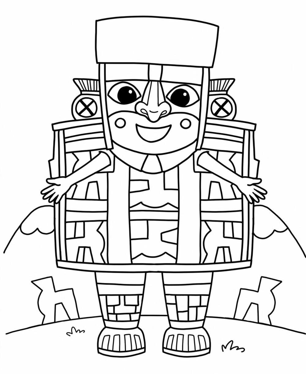 "A preview of the Wari Man coloring sheet featuring an animated version of ""Standing Dignitary"" from Peru"
