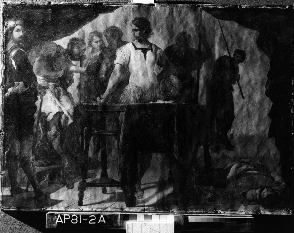 Raking light photograph of Mucius Scaevola Confronting King Porsenna showing the uneven surface of the hammered copper support