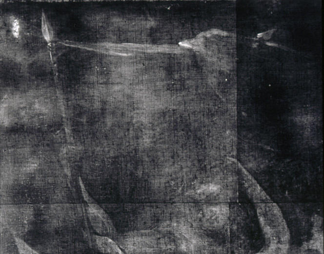 X-radiograph composite detail showing the pentimento of a canopy above the figures that was later eliminated from the composition