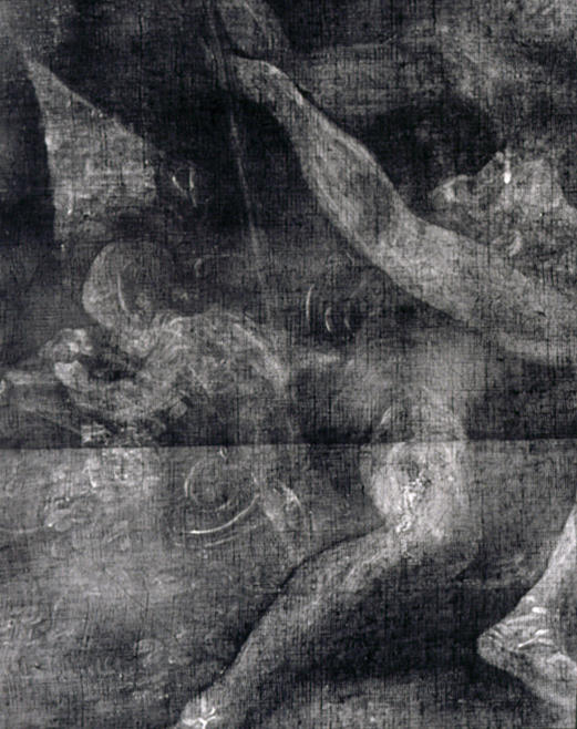 X-radiograph composite detail showing a putto writing on a tablet, which was painted over by the artist