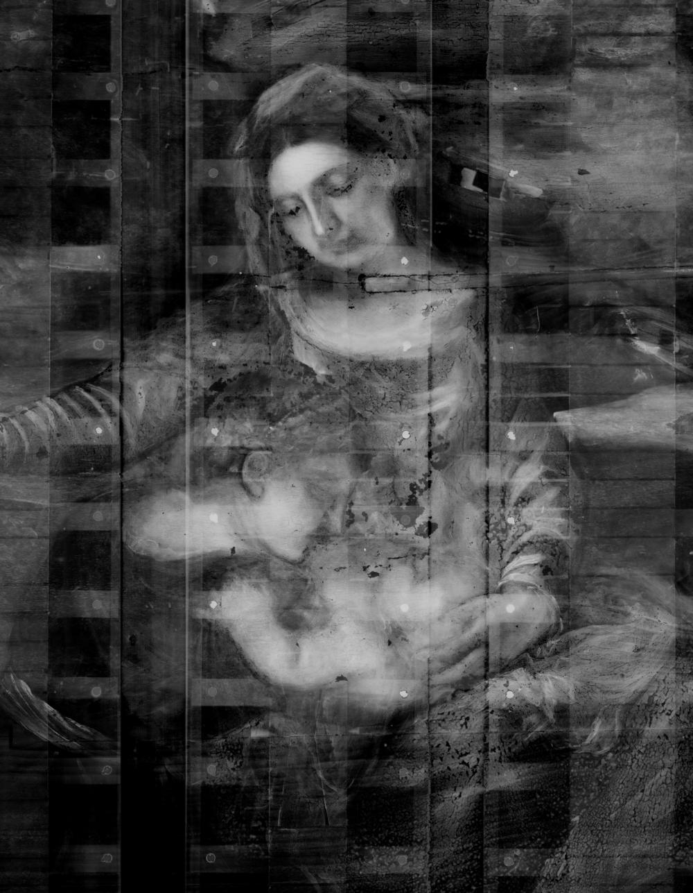 Detail of the x-radiograph composite revealing pentimenti in the figure of the Christ child, for example, the position of his head and proper right arm