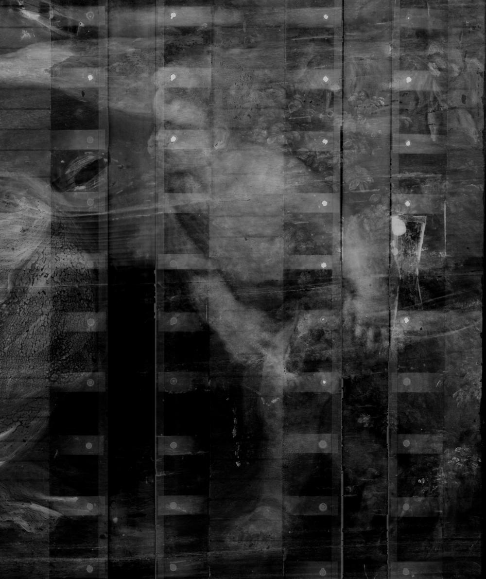 Detail of x-radiograph composite showing John the Baptist painted over the foliage