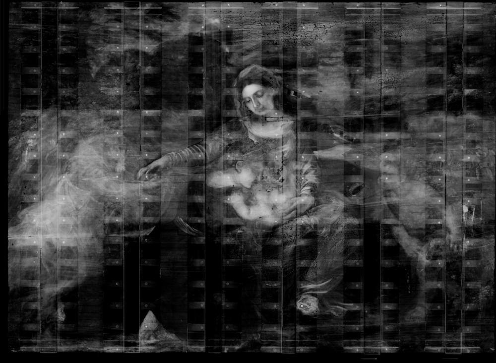 X-radiograph composite of Madonna and Child with a Female Saint and the Infant Saint John the Baptist showing pentimenti (the white dots are the screws in the cradle applied to the reverse of the pane