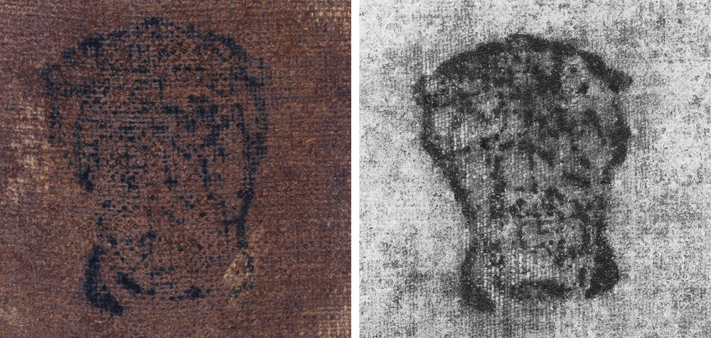 The seal of Cardinal del Monte stamped on the reverse of Gypsy Fortune Teller on the right, compared with that found on the back of the Kimbell's The Cardsharps