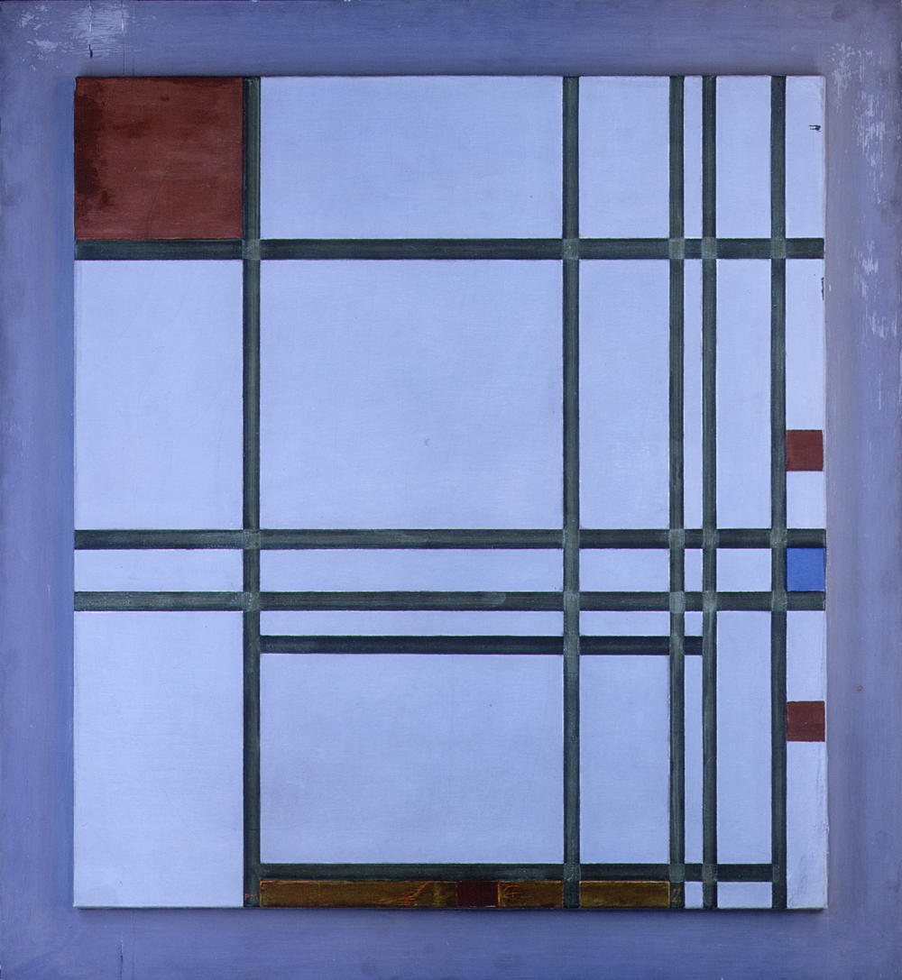 Abstraction photographed in ultraviolet light to show Mondrian's selective varnishing of the black lines