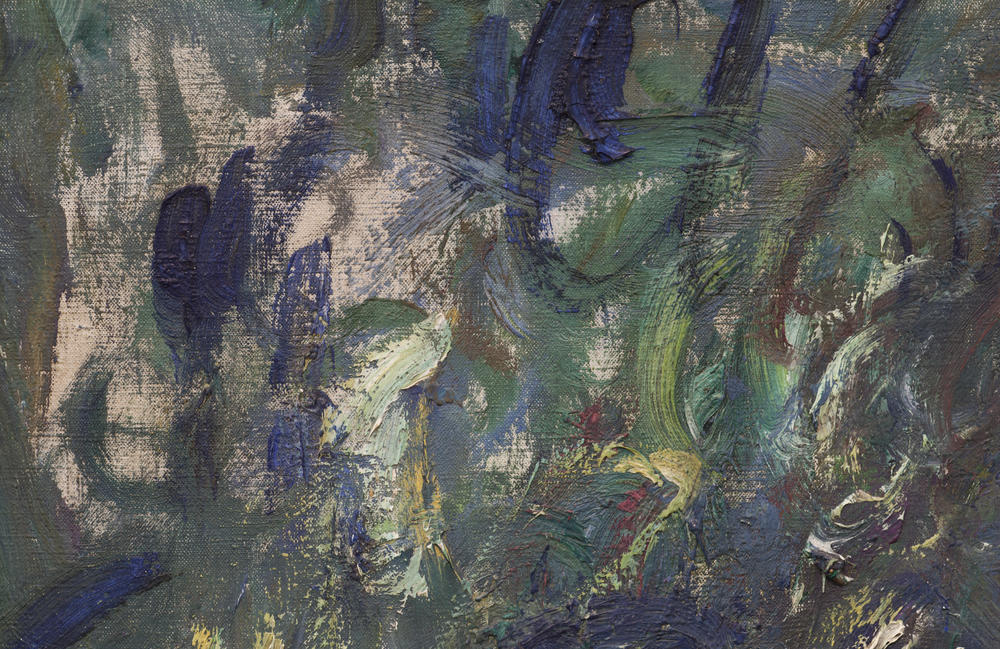 Detail of the upper left where Monet quickly finished off the edges with loose brushwork, while leaving some bare canvas visible