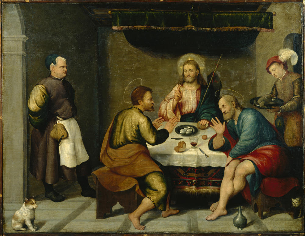 The Supper at Emmaus prior to cleaning and restoration in 1989
