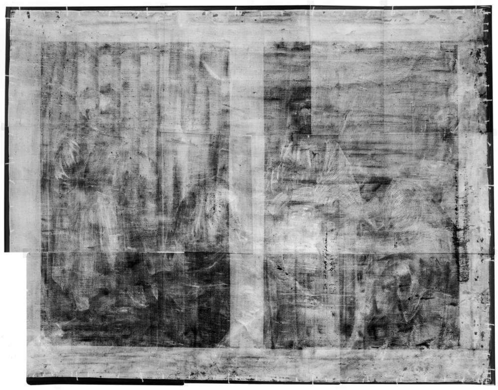 X-radiograph composite of The Supper at Emmaus showing the broadly applied ground containing lead white