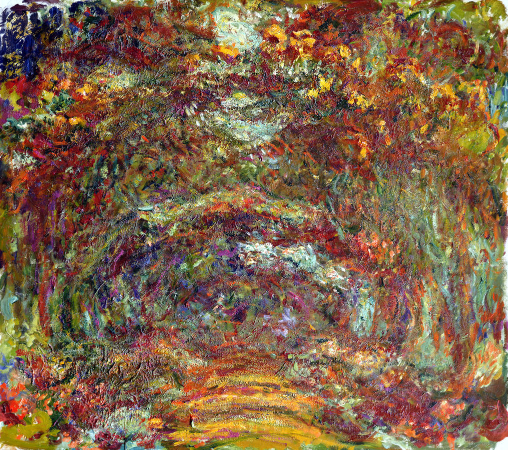 """Monet, """"Path under the Rose Arches,"""" Giverny, 1918–1924, oil on canvas, Musée Marmottan Monet, Michel Monet Bequest, 1966, inv. 5089"""