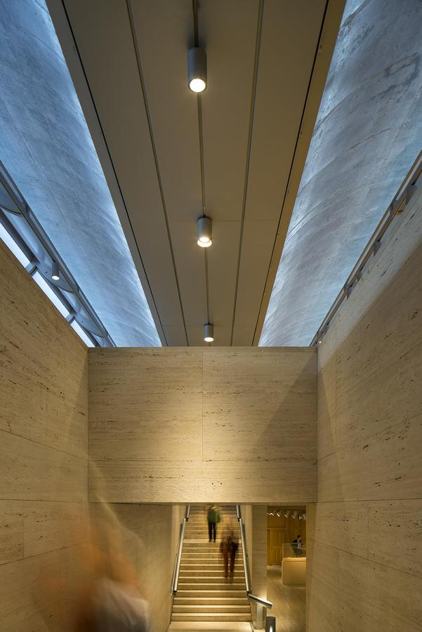 Kahn Building, grand stair, photograph by Nic Lehoux