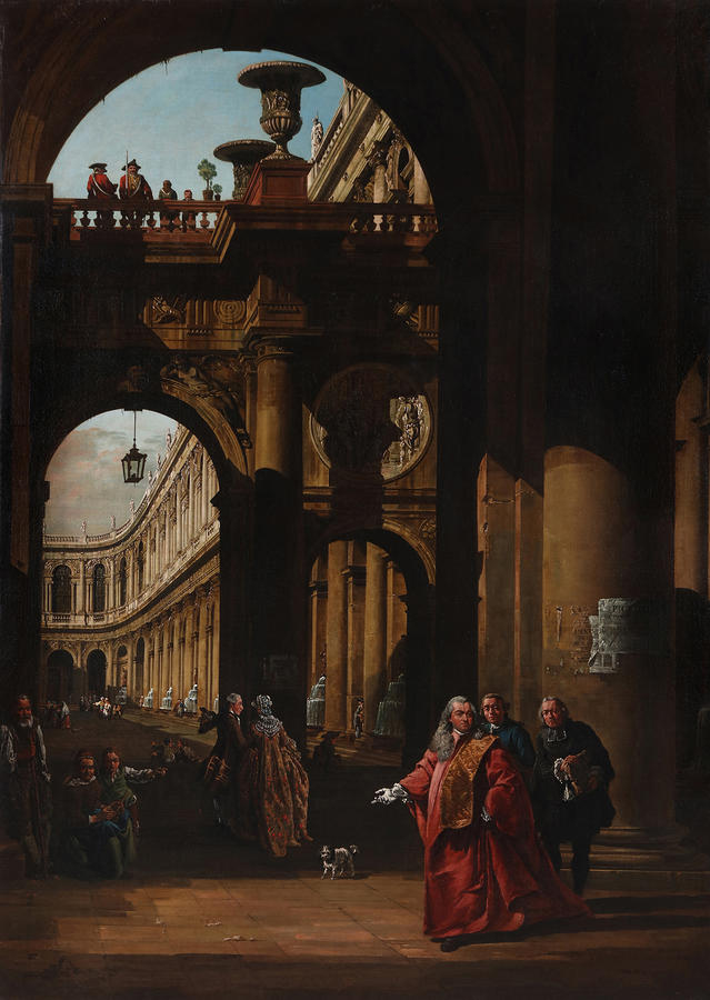 "Bernardo Bellotto, ""Architectural Capriccio with a Self-portrait in the Costume of a Venetian Nobleman,"" c. 1762-65. Oil on canvas. Agnes Etherington Art Centre, Queen's University, Kingston, Canada. Gift of Alfred and Isabel Bader, 2016, photo by Bernard"
