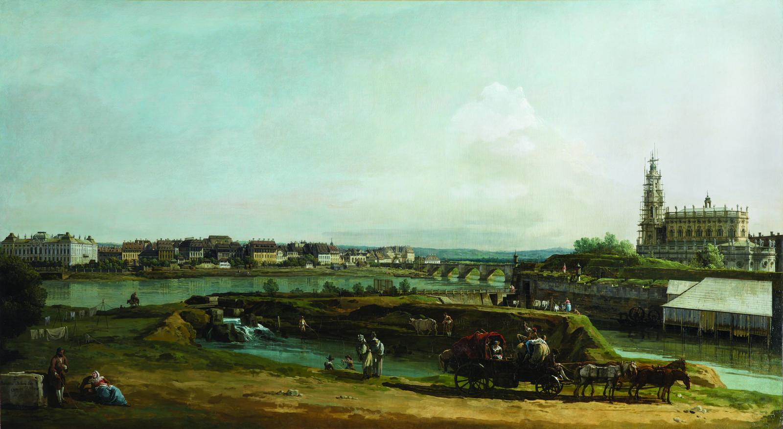 "Bellotto, ""The Former Fortresses in Dresden,"" 1749–50, oil on canvas. Gemäldegalerie Alte Meister, Staatliche Kunstsammlungen Dresden, photo by Elke Estel/Hans-Peter Klut"