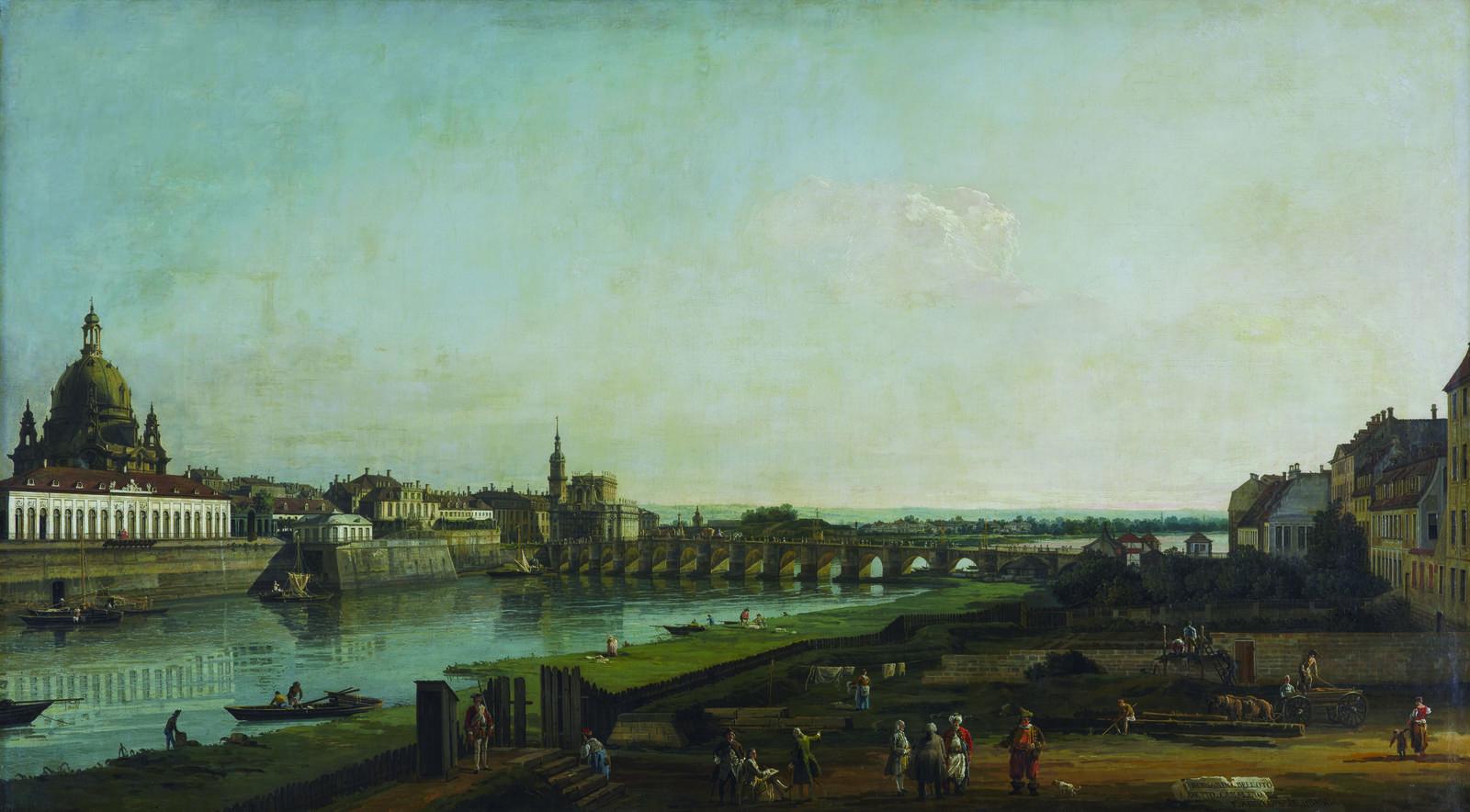"Bellotto, ""Dresden from the Right Bank of the Elbe, Above the Augustus Bridge,"" 1747, oil on canvas. Gemäldegalerie Alte Meister, Staatliche Kunstsammlungen Dresden, photo by Elke Estel/Hans-Peter Klut"