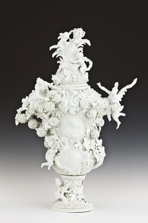 "Meissen Porcelain Manufactory, Johann Joachim Kändler (modeller) ""Grand Vase of Snowball Blossoms with Relief Portrait of King Augustus III"""
