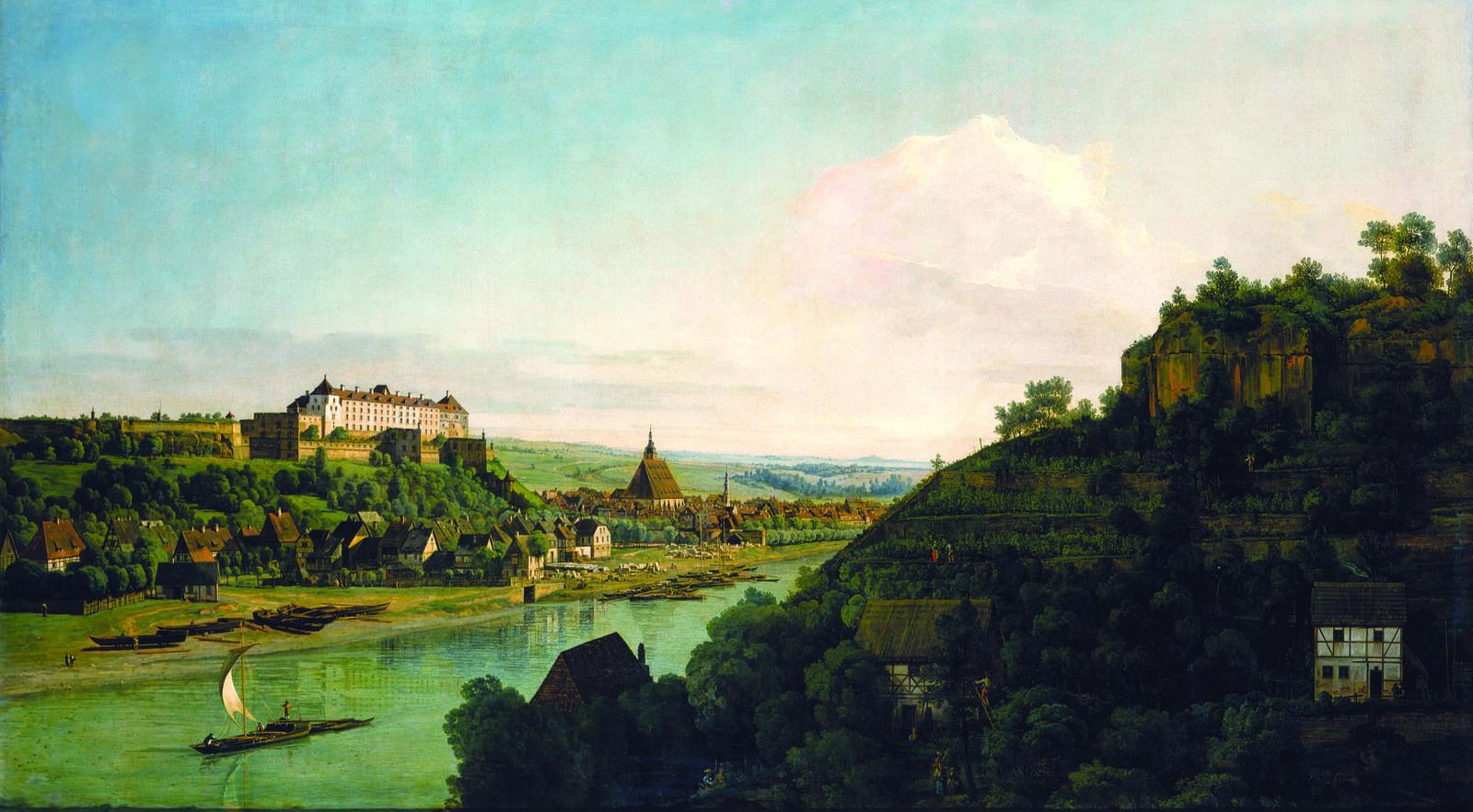 "Bellotto, ""Pirna from the Postaer Höhe,"" 1753–54, oil on canvas. Gemäldegalerie Alte Meister, Staatliche Kunstsammlungen Dresden, photo by Elke Estel/Hans-Peter Klut"