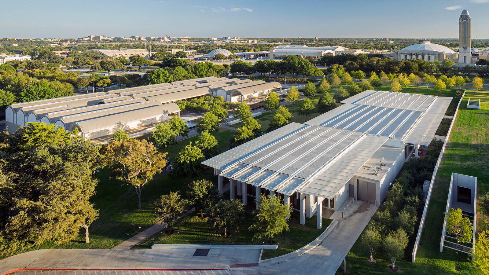 Aerial view of the Kimbell Art Museum campus, photograph by Nic Lehoux