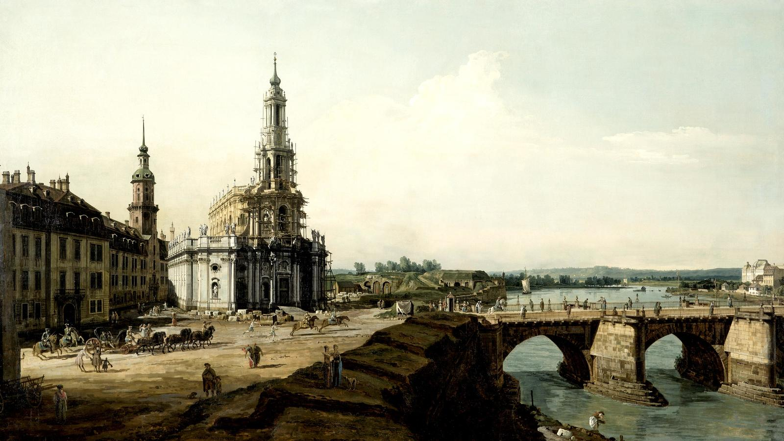 """Bellotto, """"Dresden from the Left Bank of the Elbe above the Bridgehead of the Old Town"""""""