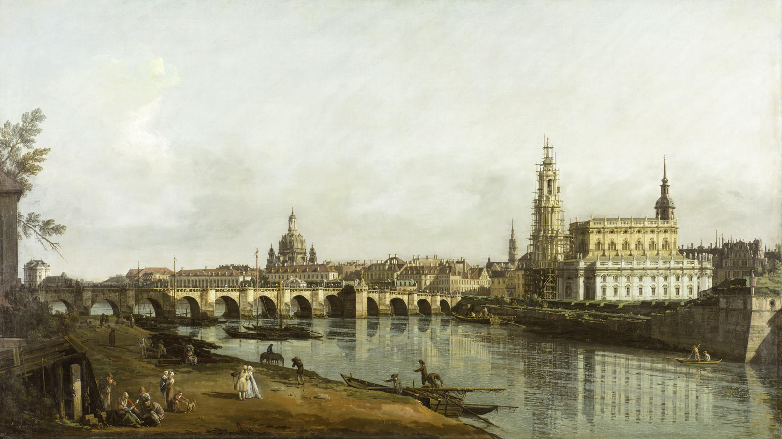 """Bellotto, """"Dresden from the Right Bank of the Elbe below the Augustus Bridge"""""""