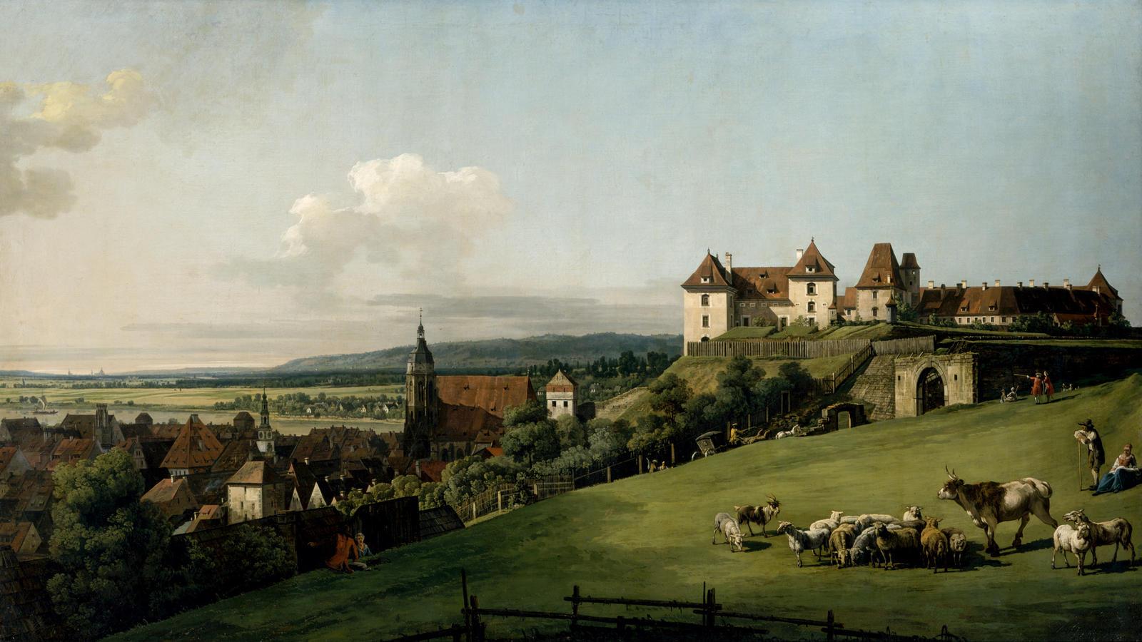"Bellotto, ""Sonnenstein Fortress above Pirna, Seen from Hausberg"""
