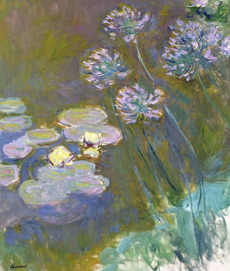 """Monet, """"Water Lilies and Agapanthus"""" 1914-17, oil on canvas, Musée Marmottan Monet, Paris"""
