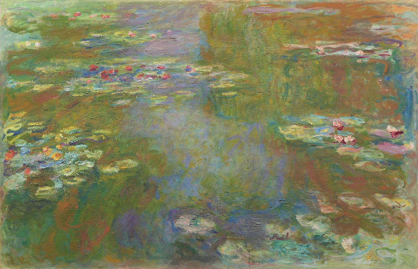 """Monet, """"Water Lily Pond"""" 1917-22, oil on canvas, The Art Institute of Chicago, Gift of Mrs. Harvey Kaplan, 1982.825"""