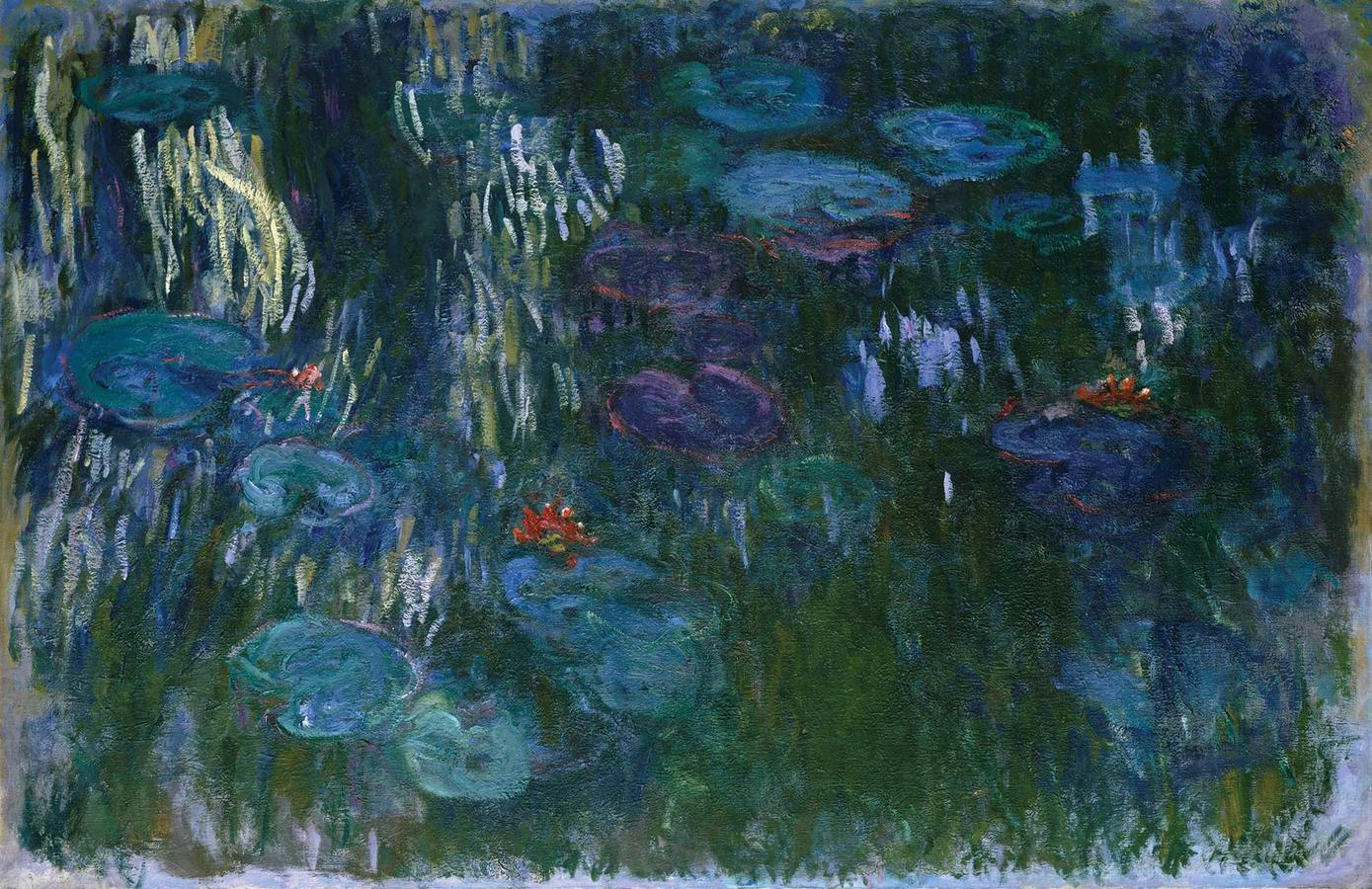 """Monet, """"Water Lilies"""" 1916–1919, oil on canvas, Lent by the Metropolitan Museum of Art, Gift of Louise Reinhardt Smith, 1983 (1983.532)"""