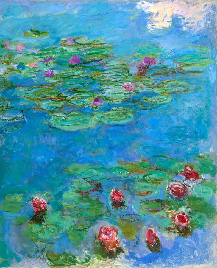 """Monet, """"Water Lilies"""" 1914-1917, oil on canvas, Fine Arts Museums of San Francisco, Museum purchase, Mildred Anne Williams Collection, 1973.3"""