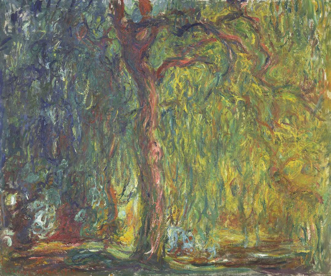 """Monet, """"Weeping Willow"""" 1918–1919, oil on canvas, Kimbell Art Museum, Fort Worth, Texas"""