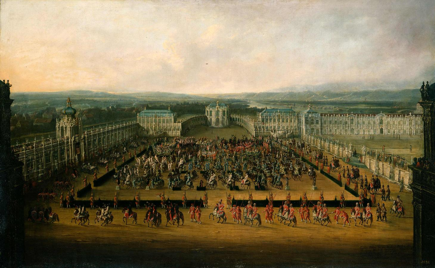 """Thiele, """"Caroussel Comique. Parade in the Zwinger in 1722"""""""