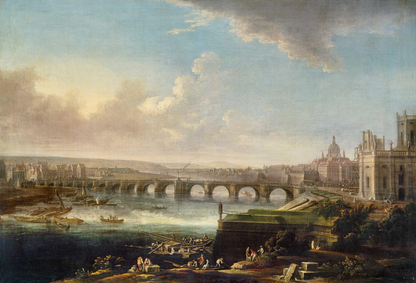 """Thiele, """"View of Dresden with the Augustus Bridge"""""""
