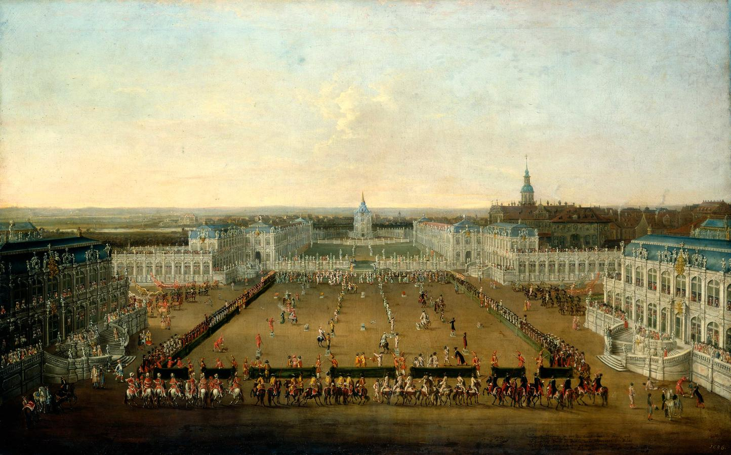 """Thiele, """"Caroussel Comique. Races at the Zwinger in 1722"""""""
