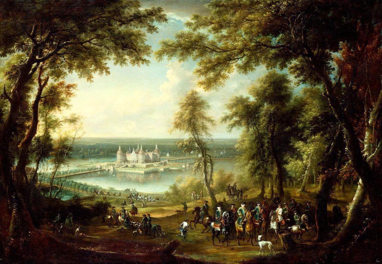 """Thiele, """"Landscape with Schloss Moritzburg Castle"""""""