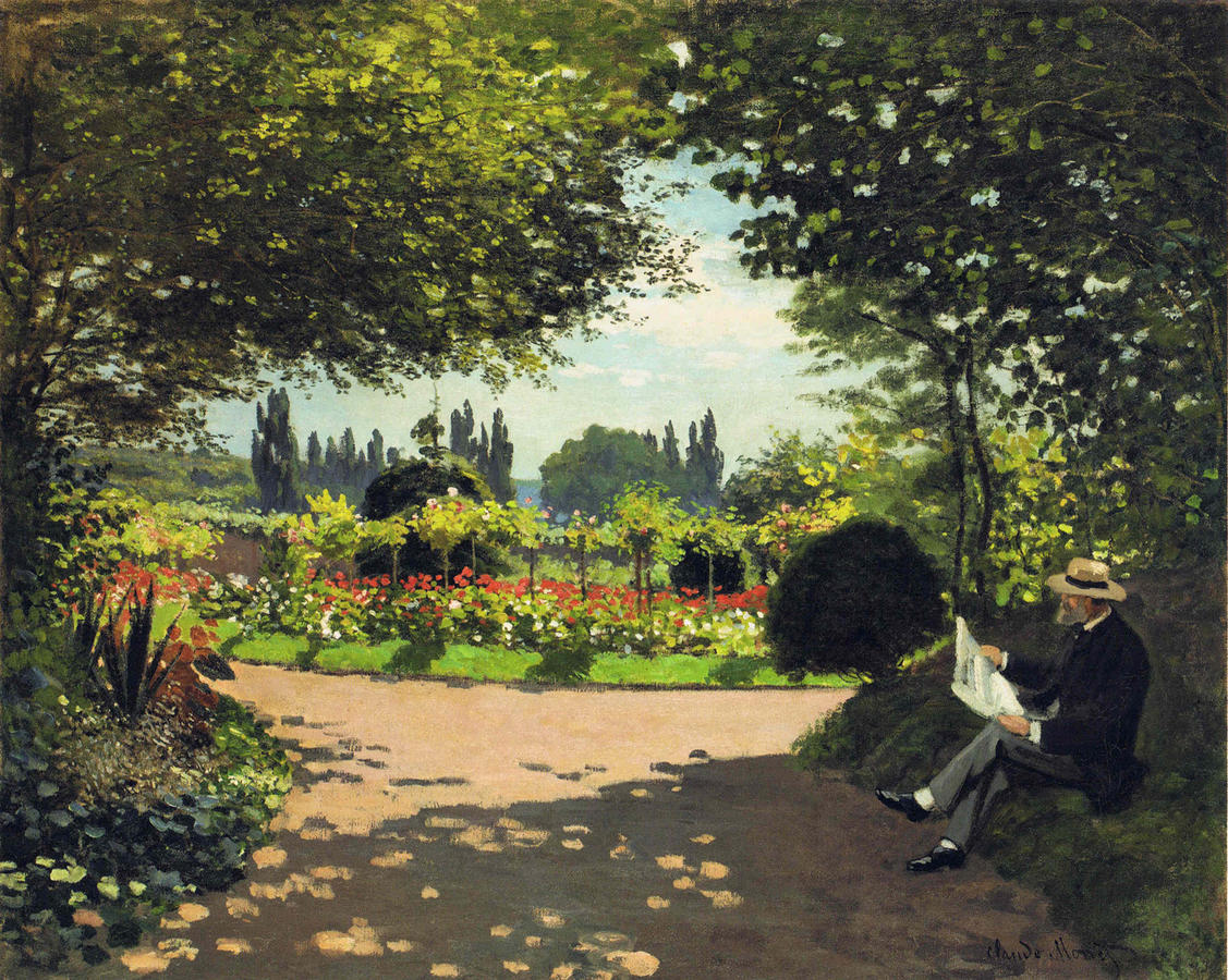 Claude Monet, Adolphe Monet Reading in a Garden, c. 1866, Oil on Canvas, 31 7/8 x 39 in. (81 x 99 cm), Courtesy of the Larry Ellison Collection