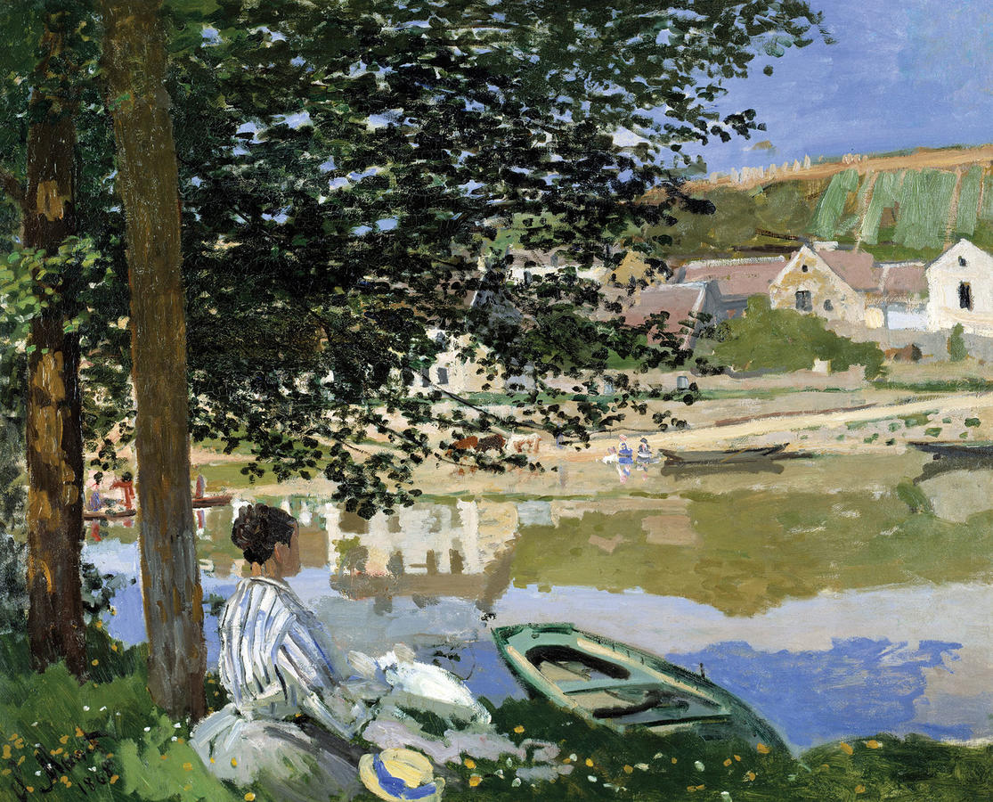 Claude Monet, On the Bank of the Seine, Bennecourt, 1868, Oil on canvas, 32 1/8 x 39 5/8 in. (81.5 x 100.7 cm), The Art Institute of Chicago, Potter Palmer Collection