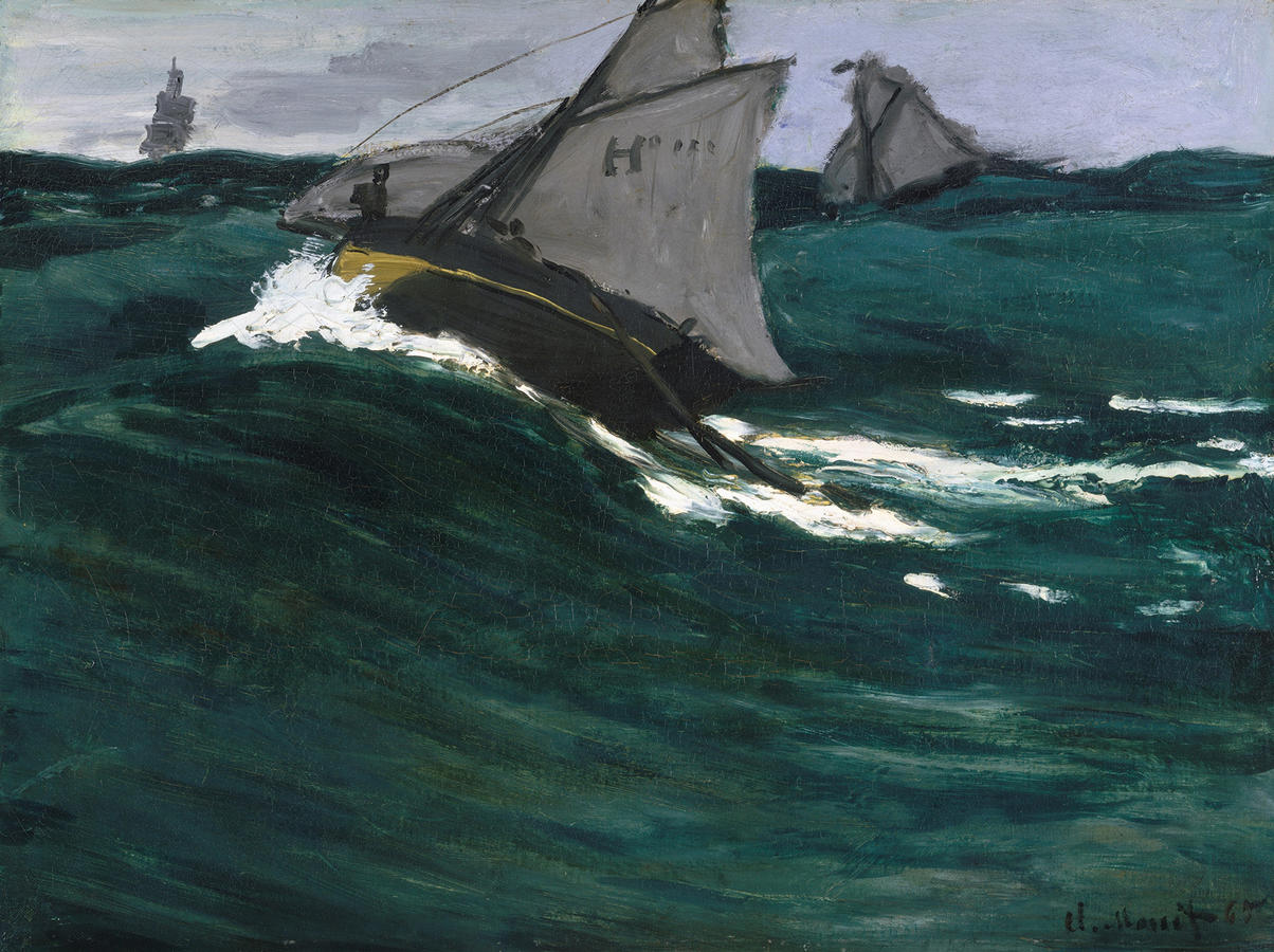 Claude Monet, The Green Wave, c. 1864, Oil on canvas, 19 1/8 x 25 1/2 in. (48.6 x 64.8 cm), The Metropolitan Museum of Art, New York, H.O. Havemeyer Collection, Bequest of Mrs. H.O. Havemeyer