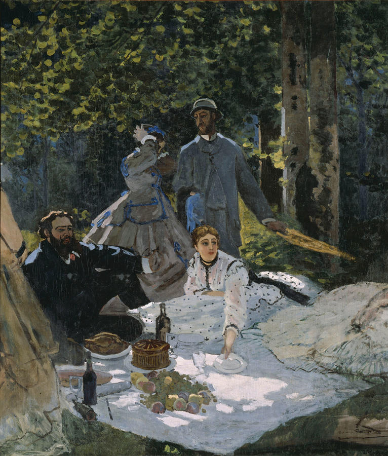 Claude Monet, Luncheon on the Grass (Central Panel), c. 1865-1866, Oil on Canvas, 97 5/8 x 85 3/8 in. (248 x 217 cm), Musée d'Orsay