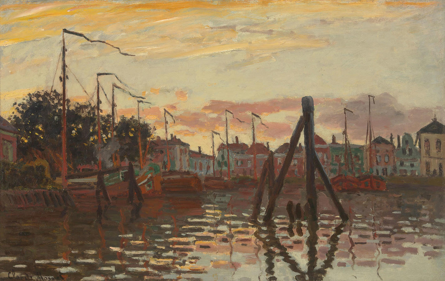 Claude Monet, The Port of Zaandam, 1871, Oil on Canvas, 19 x 29 ½ x 1 3/8 in. (48.26 x 74.93 x 3.49 cm.), Private Collection