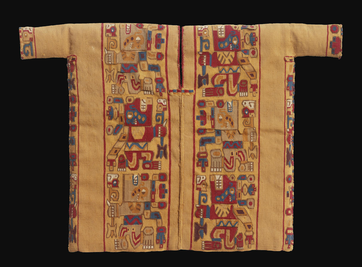 Miniature Tapestry-Woven Tunic with Weapon?-Bearing Creature Wari culture, Peru, 600–1000, Camelid fiber and cotton, 85⁄8 x 15 in. (22.1 x 38.1 cm) Brooklyn Museum, New York, Gift of Mr. and Mrs. Alastair B. Martin, the Guennol Collection
