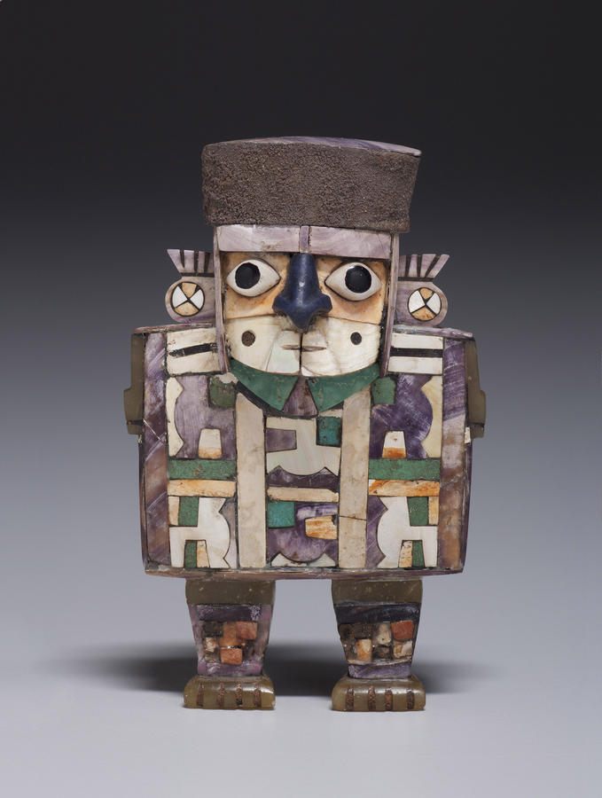 Figurine of a Standing Dignitary Wari culture, Peru, 600–1000, Wood, shell, stone, and silver, 4 x 2½ x 1 in. (10.2 x 6.4 x 2.5 cm), Kimbell Art Museum, Fort Worth, Photo: Robert LaPrelle