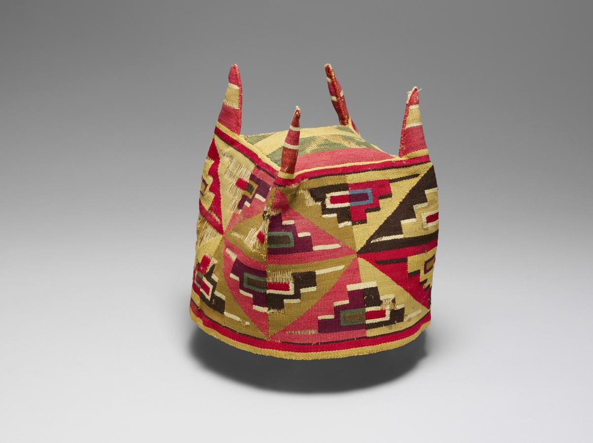 Four-Cornered Hat with Geometric Motifs Wari culture, Peru, 600–1000, Camelid fiber and cotton, 51⁄8 x 71⁄8 in. (13 x 18 cm), The Metropolitan Museum of Art, New York, Gift of Arthur M. Bullowa, 1983, Image © The Metropolitan Museum of Art / Art Resource,