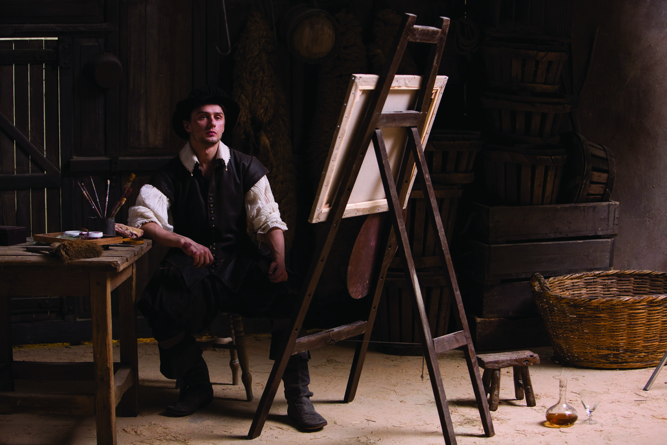Annibale Carracci at his easel, from the film installation The Butcher's Shop