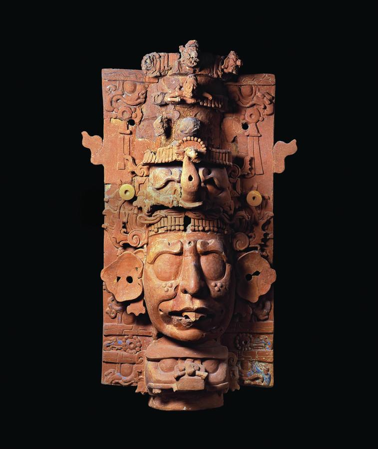 Incense burner with a deity with aquatic elements, 700–750, Palenque, Mexico. Ceramic, 46 3/4 x 22 1/4 x 7 7/8 in. (118.5 x 56.5 x 20 cm), Consejo Nacional para la Cultura y las Artes—Instituto Nacional de Antropología e Historia, Museo de Sitio de la Zon
