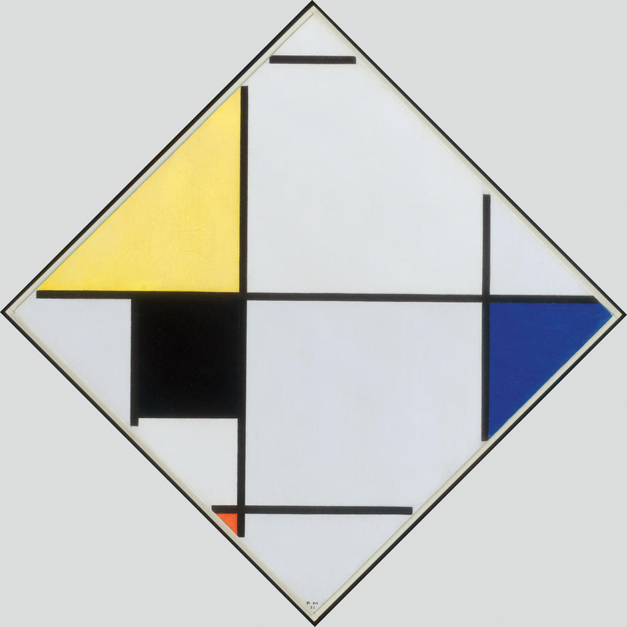 Piet Mondrian, Lozenge Composition with Yellow, Black, Blue, Red and Gray, 1921, Oil on canvas, The Art Institute of Chicago, Gift of Edgar Kaufmann, Jr., © 2013 Mondrian/Holtzman Trust c/o HCR International USA