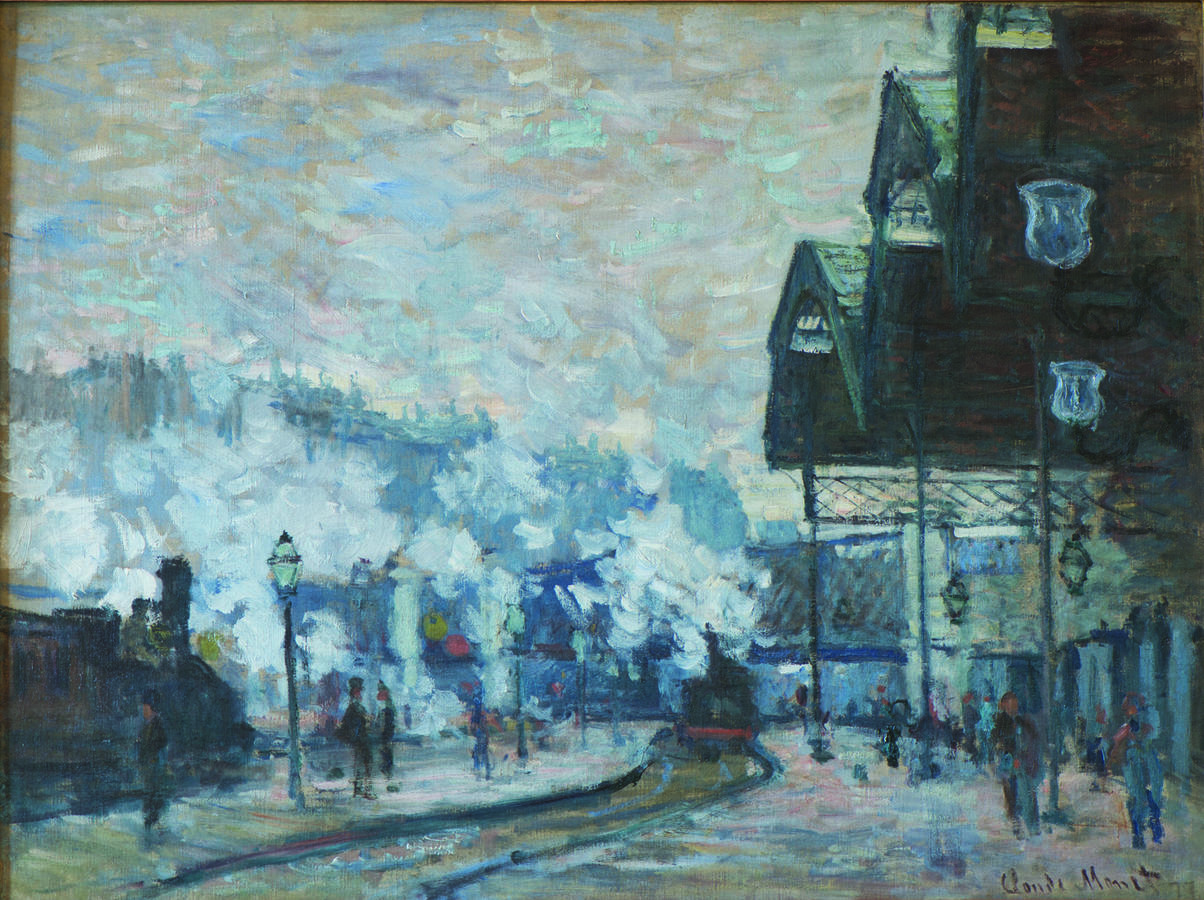 Claude Monet, The Gare Saint‐Lazare, Exterior View, 1877, Oil on canvas, 23 5/8 × 31 1/2 in. (60 × 80 cm), Collection of Nancy Lee and Perry R. Bass, Fort Worth
