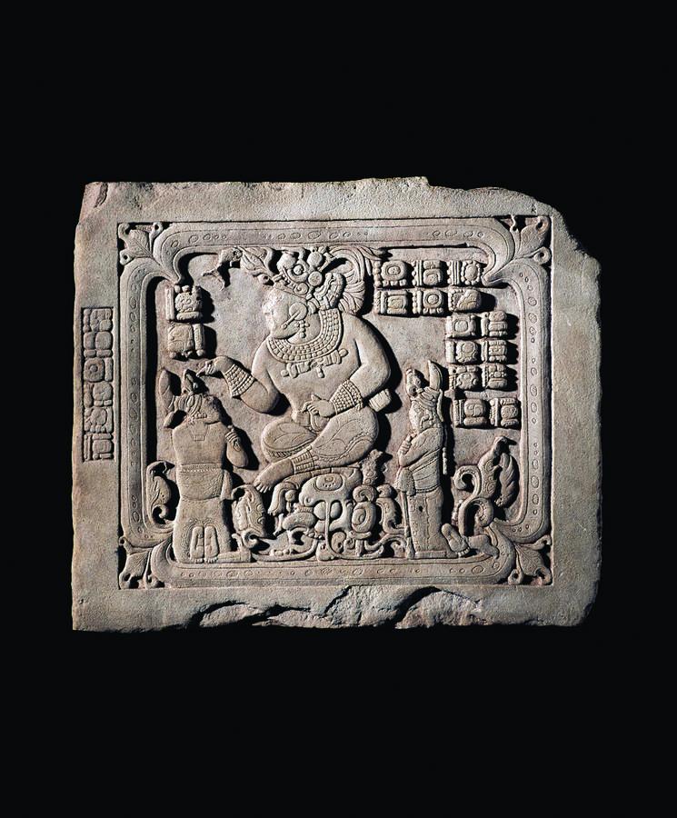 Panel with a seated ruler in a watery cave (Cancuen Panel 3), 795, Cancuen, Guatemala, Limestone, 22 5/8 x 26 1/4 x 3 in. (57.5 x 66.5 x 7.6 cm), Ministerio de Cultura y Deportes—Museo Nacional de Arqueología y Etnología, Guatemala City, Courtesy Peabody