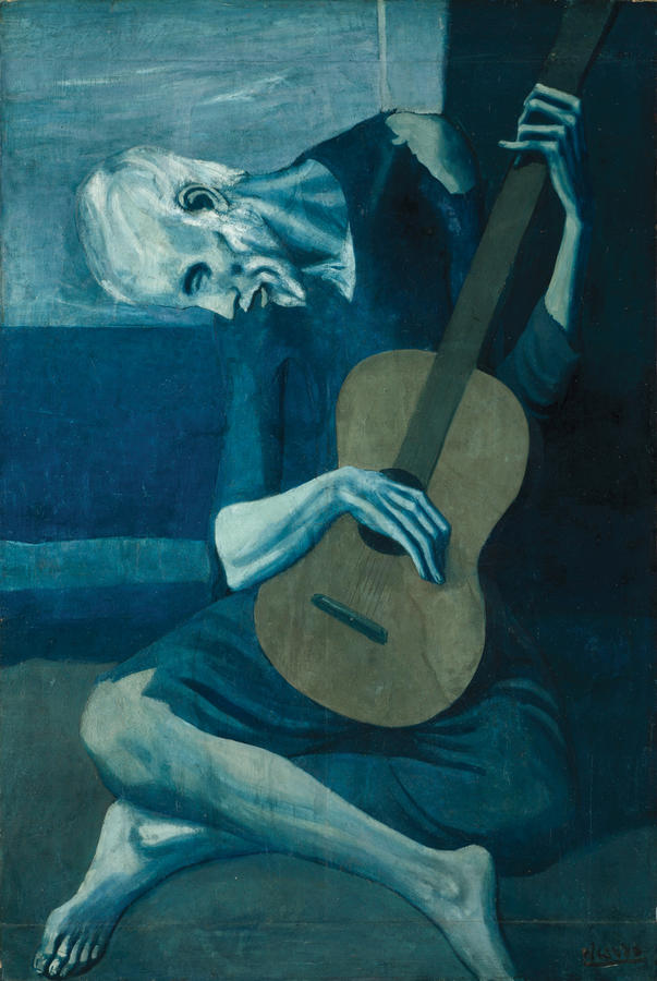 Pablo Picasso, The Old Guitarist, late 1903–early 1904, Oil on panel, The Art Institute of Chicago, Helen Birch Bartlett Memorial Collection, © 2013 Estate of Pablo Picasso / Artists Rights Society (ARS), New York