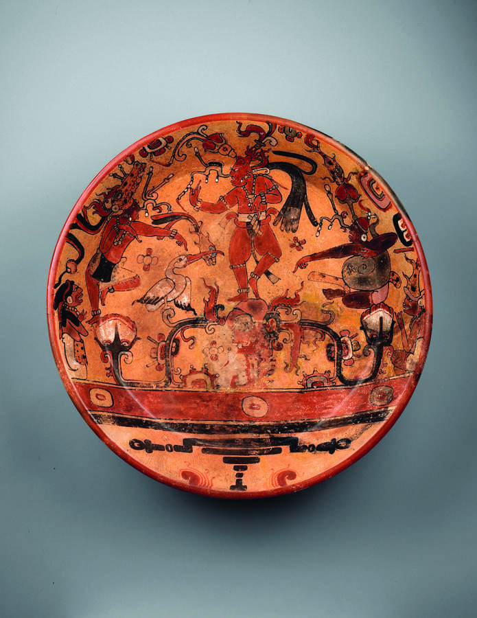 Plate with the Maize God dancing above water, 700–800, Peten region, Guatemala, Ceramic, 14 3/4 x 14 3/4 x 4 1/2 in. (37.5 x 37.5 x 11.4 cm), Princeton University Art Museum; Museum purchase, Fowler McCormick, Class of 1921 Fund, 1997-465, Photograph by B