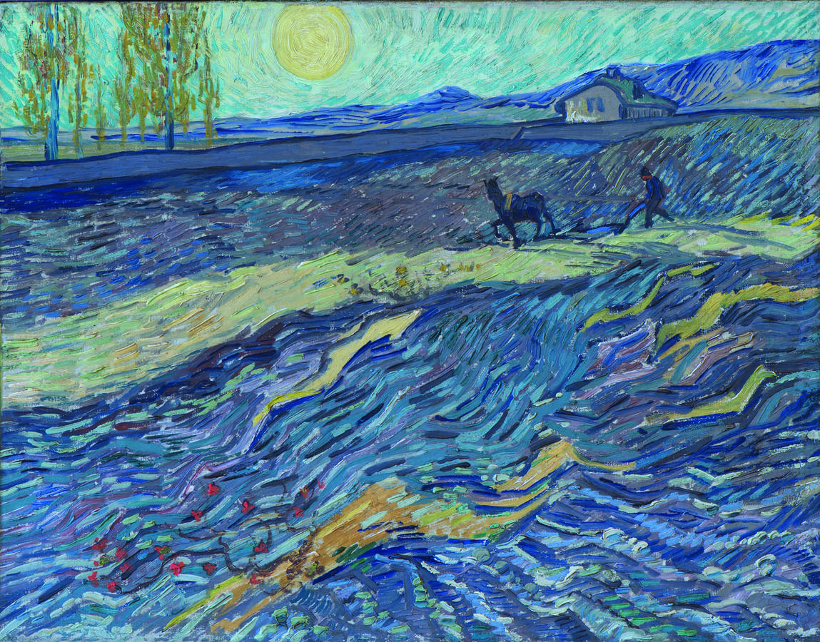 Vincent van Gogh, Enclosed Field with Ploughman, 1889, Oil on canvas, 19 3/4 × 25 1/4 in. (50.2 × 64.1 cm), Collection of Nancy Lee and Perry R. Bass, Fort Worth