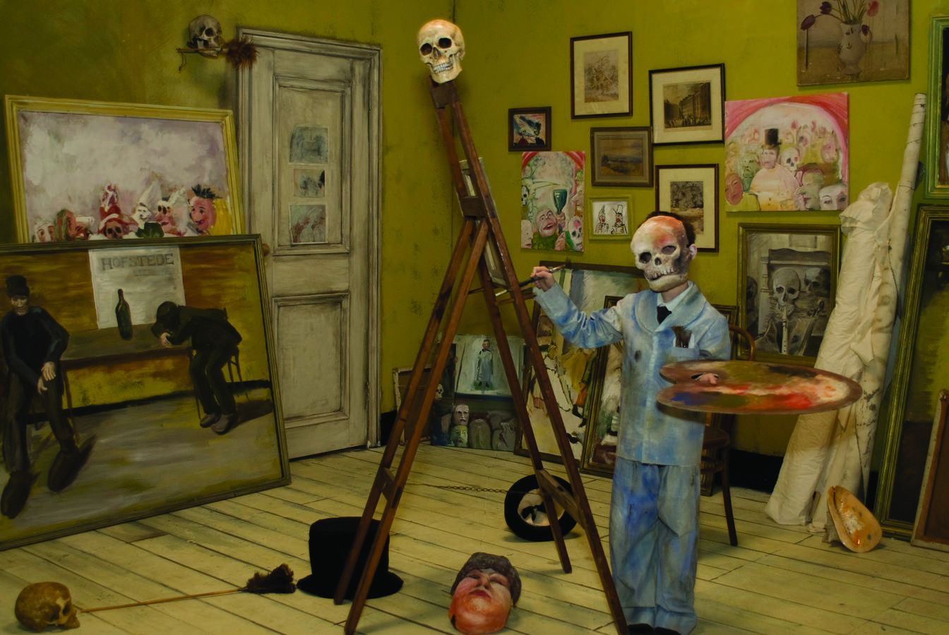 The young James Ensor painting, from the film installation Skeletons Warming Themselves