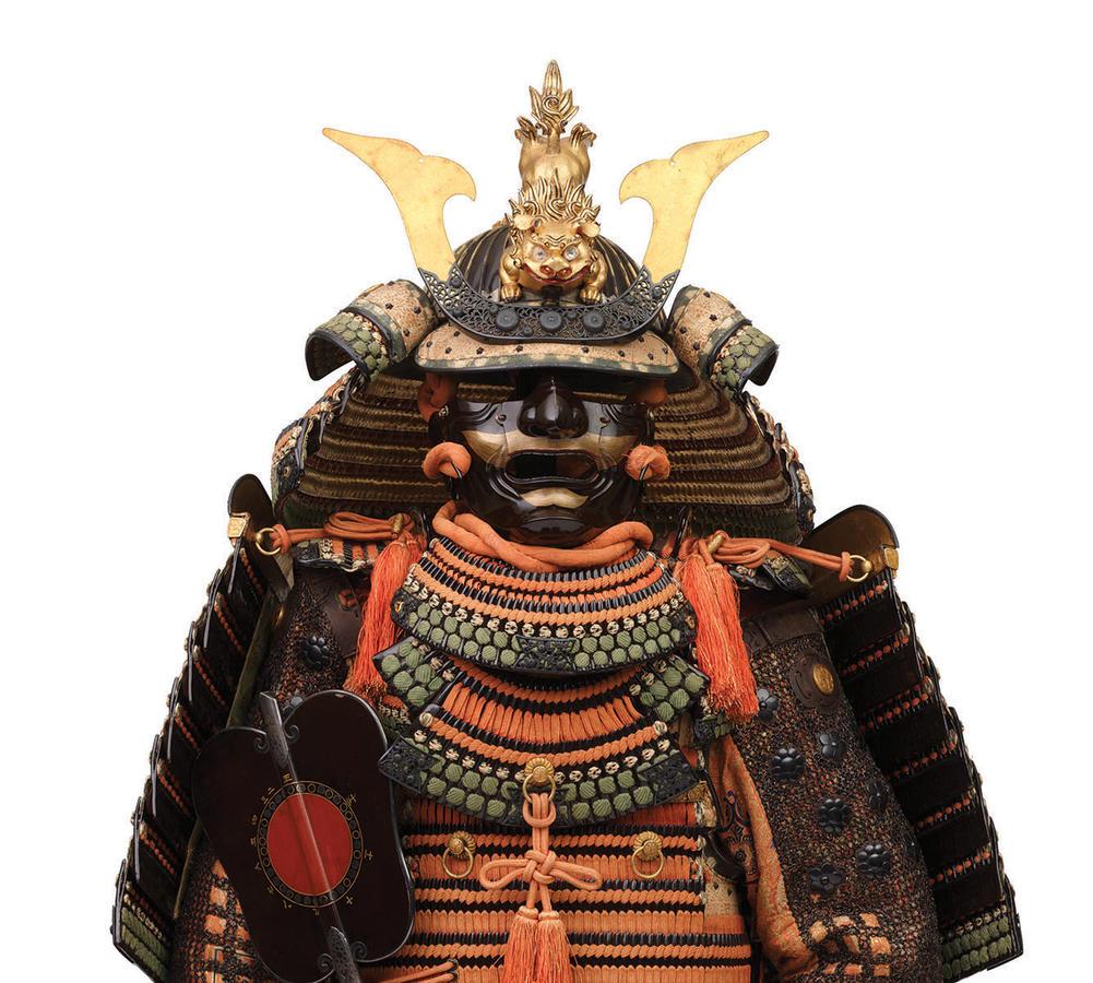 Armor of the Nimaitachidō Type (detail), attributed to Myōchin Yoshimichi (helmet bowl); Myōchin Munenori (armor), Muromachi period, c. 1400 (helmet bowl); mid-Edo period, 18th century (armor), iron, shakudō, lacing, silver, wood, gold, brocade, fur, bron